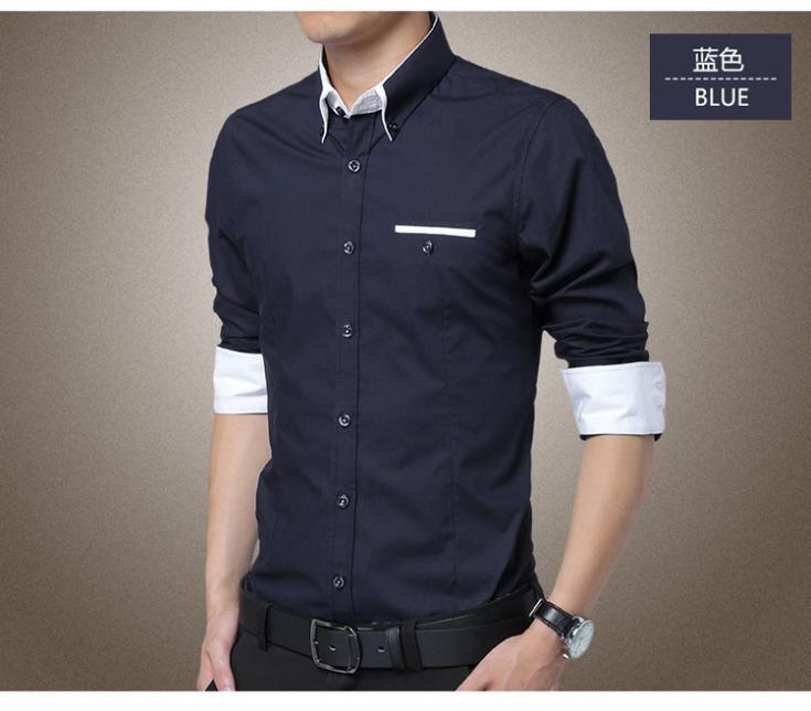 Plus Size 2018 New Mens Dress Shirts Long Sleeve Lapel Casual Shirt