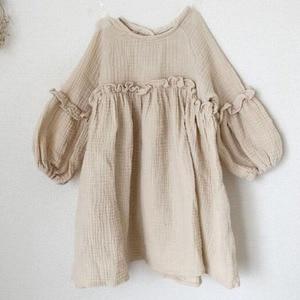 Baby Girls Summer Dresses New 2019 Summer Japan Kids Girl Dress Linen Spring Clothes Ruffles Princess Toddler Baby Girl Clothing(China)