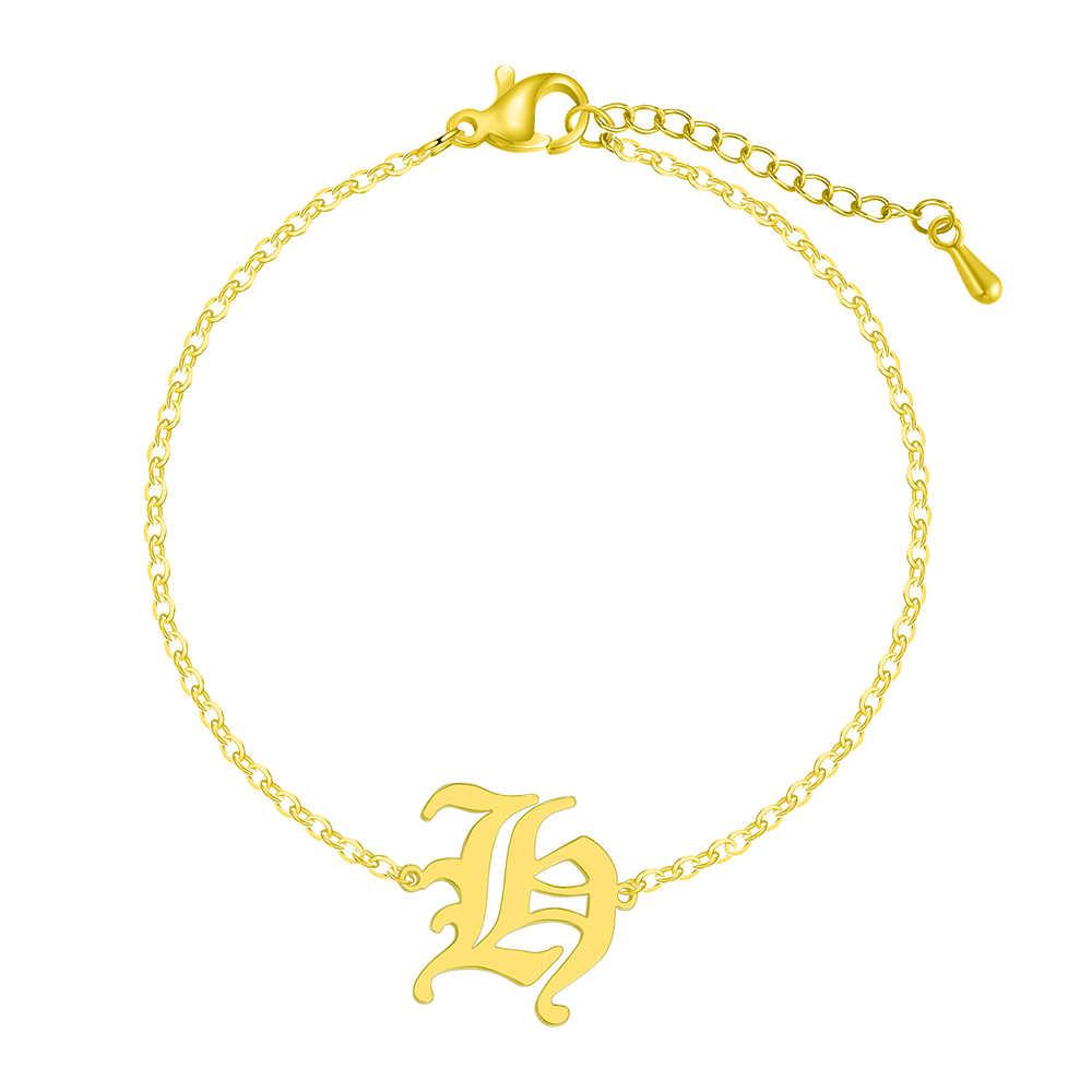Moda Acero inoxidable H pulseras de las mujeres inicial alfabeto mayúscula letra antiguo inglés 26 A-Z pulsera brazaletes regalo de cumpleaños