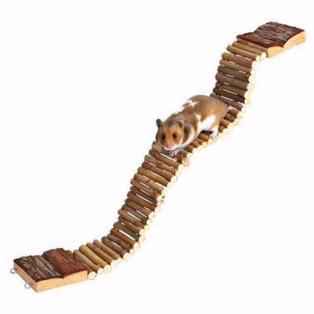 Новый Гибкий, Смешные Pet Лестница Висит Древесины Мост Пэт Песчанка Мышь Хомяк Крыса Попугай Птица Натуральные Деревянные Игрушки 2 Размеры