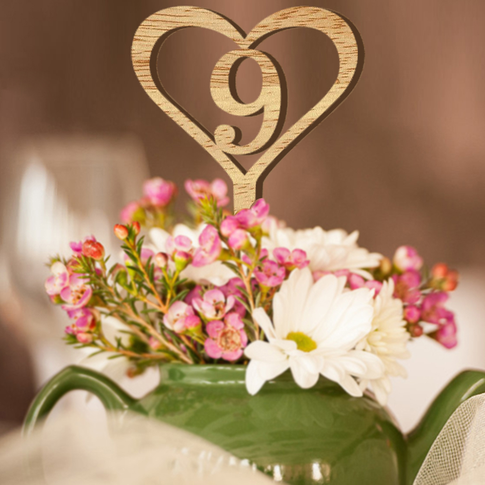 10pcs Wooden Table Numbers Rustic Wedding Heart Shape Wood Table