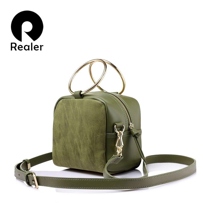 REALER Весна плечо модные женские сумки через плечо женская сумка металлические кольца, сумки дамы небольшой сумки через плечо