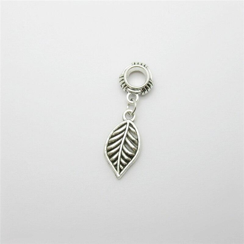 Ancient silver 20pcs leaves charms big hole loose bead fit Pandora bracelet pendants DIY