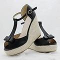 Qualidade Superior estilo Verão bowknot confortável Cunhas Boêmio Mulheres sandálias para a Senhora sapatos de plataforma alta dedo aberto flip flops