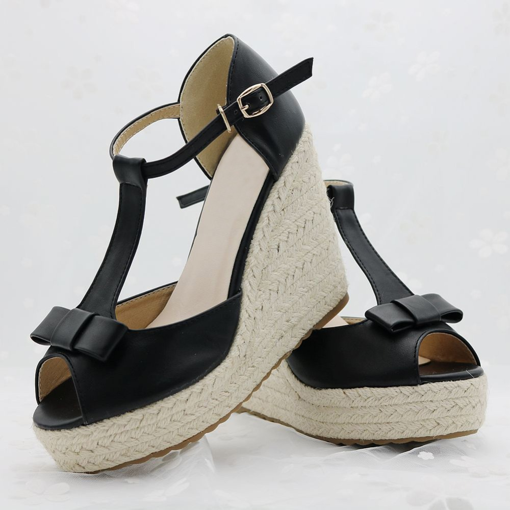 bbc0502dbb260 Superior Quality Summer style bowknot comfortable Bohemian Wedges Women  sandals for Lady shoes high platform open toe flip flops-in Women s Sandals  from ...