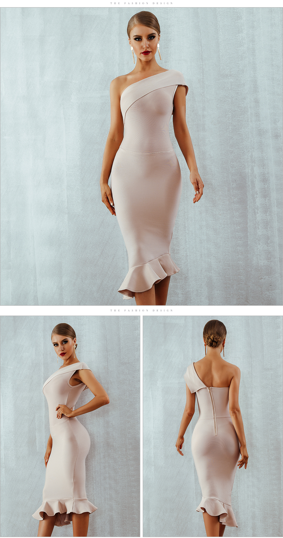 One Shoulder Sleeveless Ruffles Bandage Dress