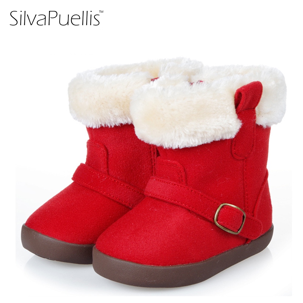 SilvaPuellis New Children's Simple Zipper Fashion Boots Winter Boys And Girls Round Toe Flat With Flock Snow Boots silvapuellis 2017 new winter simple stylish snow boots for girls children princess rubber low heels warm boots