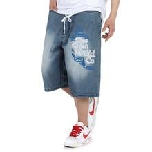 Plus Size 30-46(waist 116cm)Hip Hop jeans baggy men's trousers washed prints in large size men's pants calf-length Pant