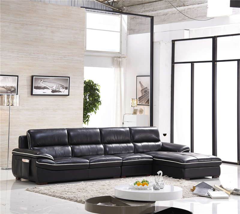 Good Quality Leather Sofa: Black Color High Quality Leather Sofa 0414 8829-in Living