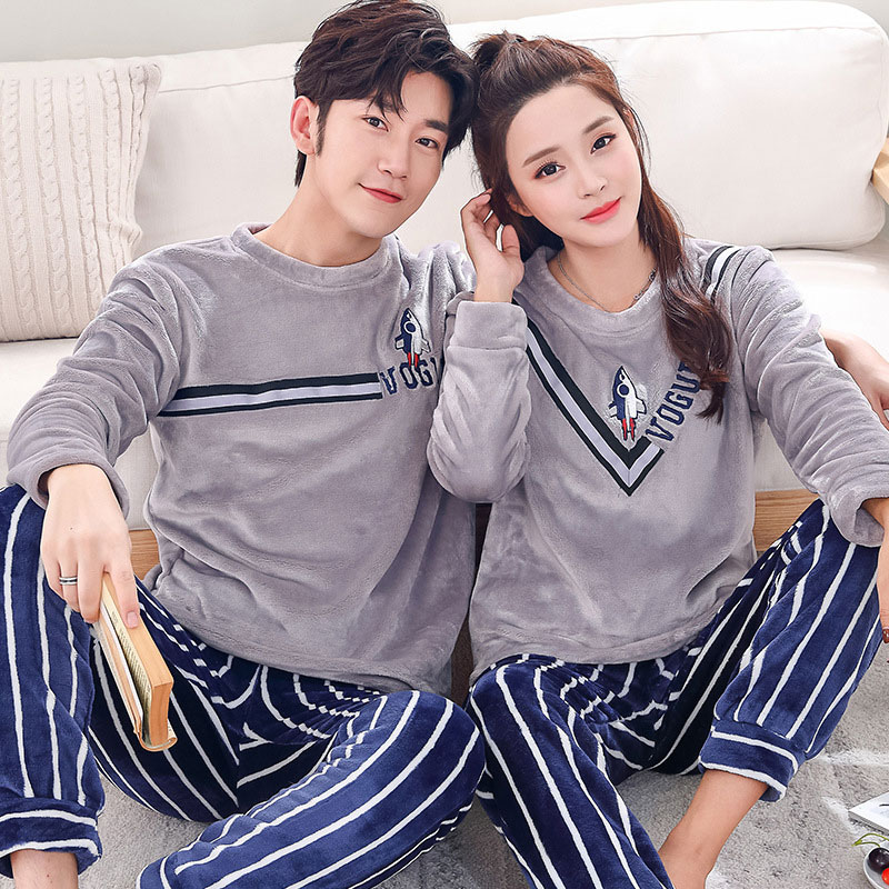 Winter Couple Pajamas Sets Women Men Thick Flannel Warm Pyjamas Pijama Sleepwear Suit Cute Cartoon Home Clothing Pyjama Femme
