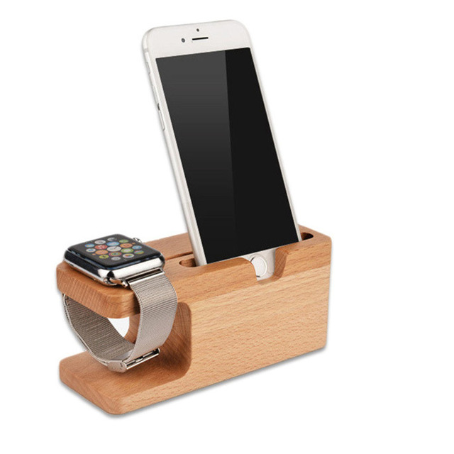 dc3496ec7 Cell Phone Charger Dock with Watch Beech Holder Desk Wood Charging Stand  For Apple Watch 38mm 42mm iPhone 5 6 7 8 X Plus mobile