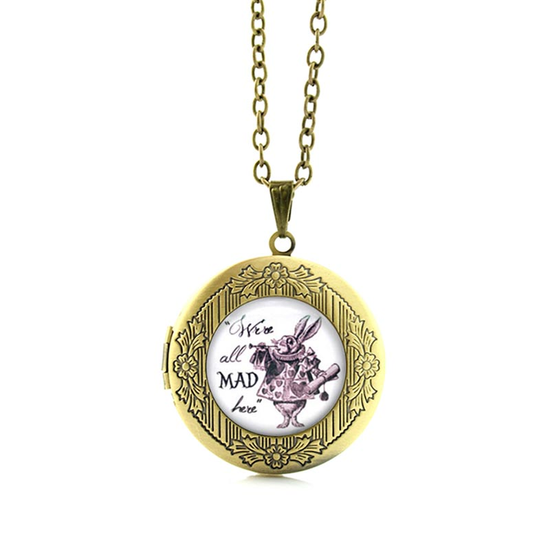 TAFREE Were all Mad here White Rabbit Alice in Wonderland Necklace Cartoon totoro prince My Little P pendant jewelry N463