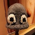 Lovely Big Eyes Women's Winter Warm Crochet Beanie Cap 100% Handmade Knit Ski Hat