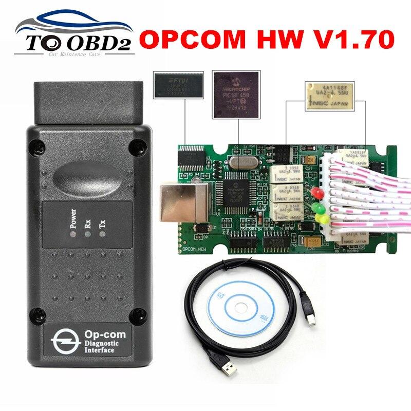 Prix pour Haute Qualité V1.65 V1.70 FW OPCOM OBD2 USB Scanner Pour Opel Auto Diagnostic OP-COM HW1.70 CAN-BUS Interface PIC18F458 et FTDI
