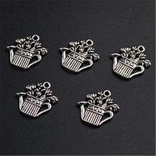 Wkoud 10 pçs cor prata rega pote charme liga pingentes moda pulseira brincos diy jóias de metal artesanal a1220