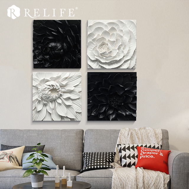Handmade Black and White Flower Paintings on the Wall Nordic Decoration Home Decor Triptych Painting