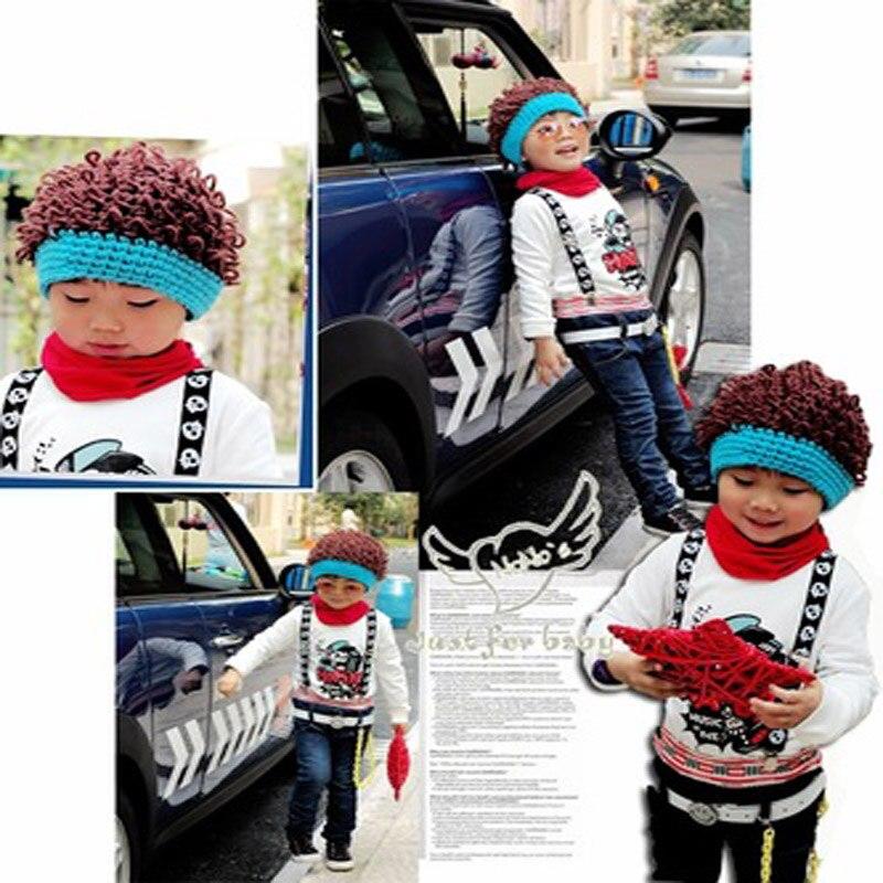 Ručně tkané úplné měsíční oděvy Pletené klobouky Novorozené dětské vlny Cute 100% ručně vyrobené kojence Sto dny Fotografie 0-3 měsíců Paruka