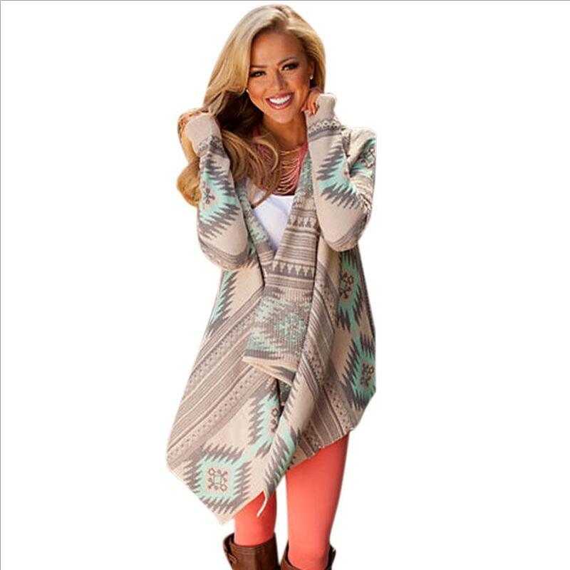 af3e9c599 Venda quente da Primavera Casual Assimétrica Irregular Mulheres Cardigan  Geométrica Impresso Moda Camisola Solta Casaco De Malha De Algodão