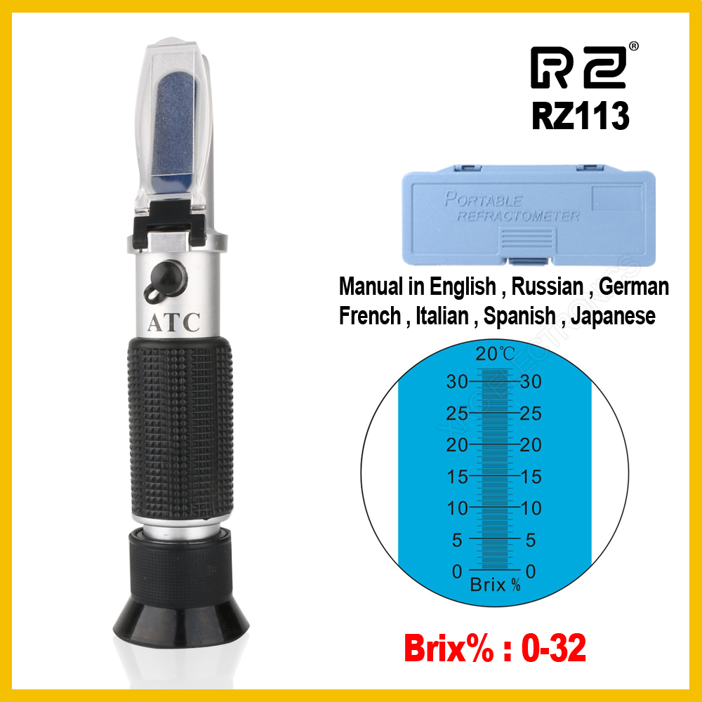 RZ Brix Refractometer 0~32% RHB-32ATC Optical Sugar Food Beverages ATC Content RZ113 Meter Tool Test Handheld