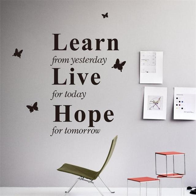 Learn Yesterday Live Today Hope Tomorrow Inspiring Quote Butterfly Wall Art  Stickers Home Work Office Decals