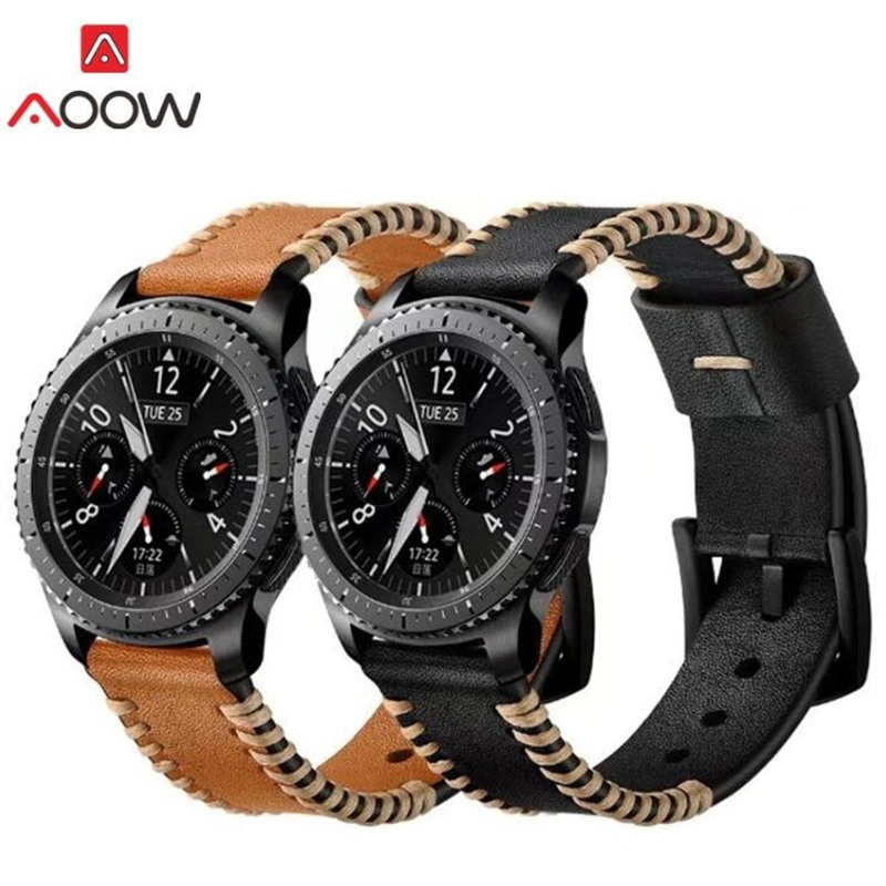 AOOW Genuine Leather 22mm Watchband for Samsung Gear S3 Classic Frontier Replacement Bracelet Strap Watchband Sewing Design silicone sport watchband for gear s3 classic frontier 22mm strap for samsung galaxy watch 46mm band replacement strap bracelet