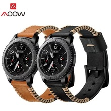 AOOW Genuine Leather 22mm Watchband for Samsung Gear S3 Classic Frontier Replacement Bracelet Strap Sewing Design