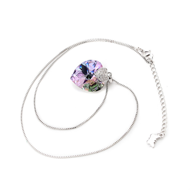 HTB1MA7abcfrK1Rjy1Xdq6yemFXap Swarovski Crystal Necklace Heart Shape Amethyst Crystal Pendant Necklace Fashion Jewelry Choker Necklace Gift for Lady Collares