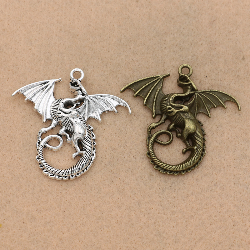 3D Dragon,Charm Silver Alloy Pendants,Jewelry Finding Diy Accessories