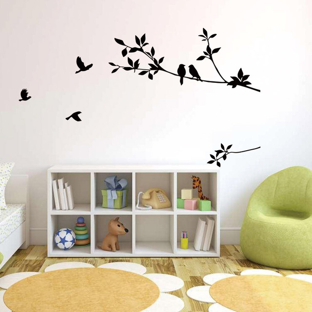 Birds On The Black Tree Branch Wall Decal Sticker Living Room Bedroom Art Mural Decor