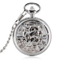 Hollow Automatic Self wind Copper Kylin Design Pocket Watch Automatic Fob Mechanical Watches Luxury Clock Gifts for Men Women