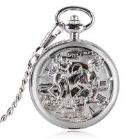 Luxury Hollow Automatic Self wind Copper Kylin Design Pocket Watch Automatic Fob Mechanical Watches Men for Clock Gifts Relogio