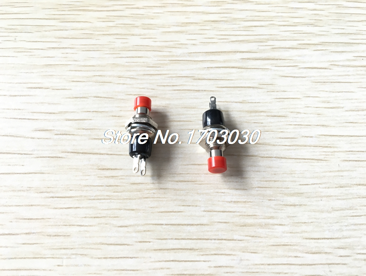 10 pcs Red 2 Pin SPST Off-(On) N/O Round Momentary Push Botton Switch 1A 250V AC red 2 pin spst miniature 2a 125vac 12mm hole no momentary push button switch