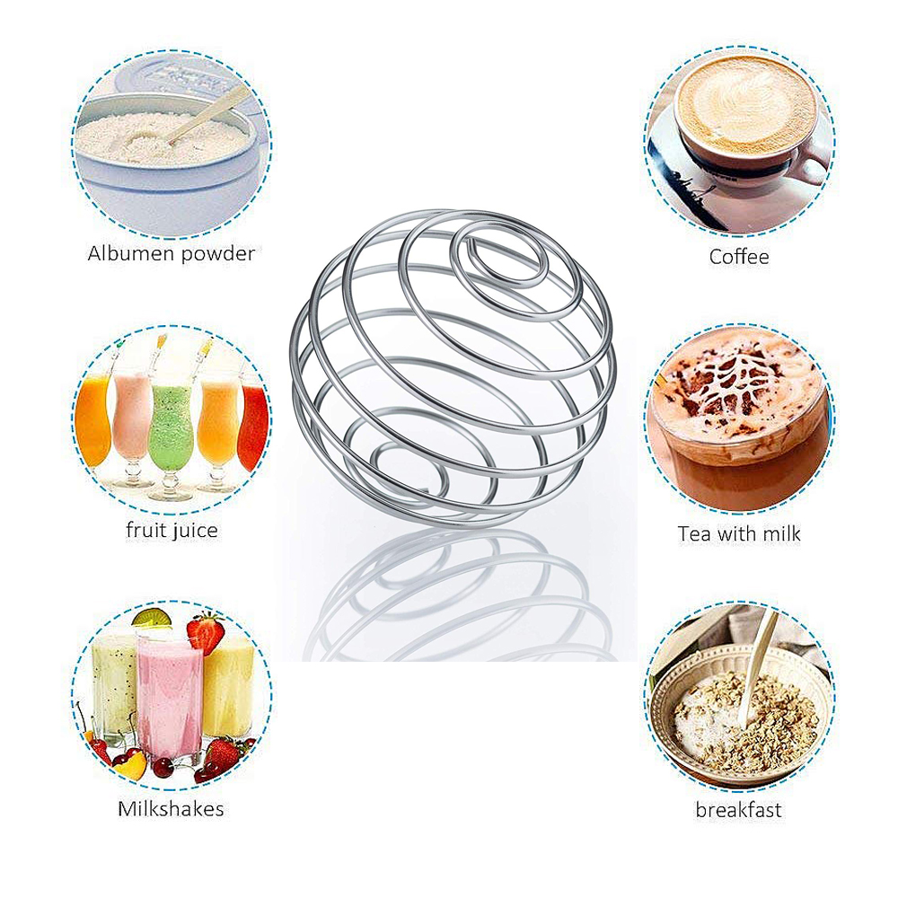 Stainless Steel Whisk Ball Mixed Shaker Bottle Protein Fitness Water Bottle Juice Milk Mixer Creative Mixing Bar Drink Gadgets Бутылка