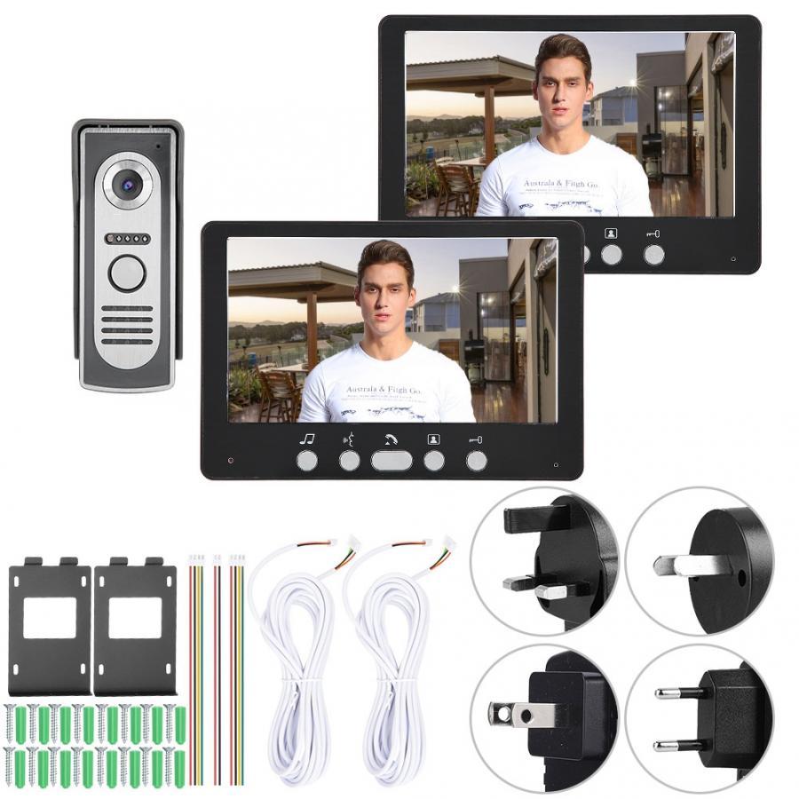 Black 7in TFT Camera 2 Monitors Video Doorbell Intercom Night View System 815m12 110-240V