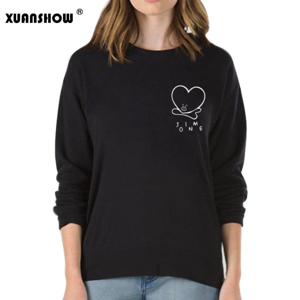 XUANSHOW 2018 Frauen Sweatshirts Kpop BTS Fans Club Fashion BT21 Fleece Hoodies Damen Sweatshirt Harajuku Moletom