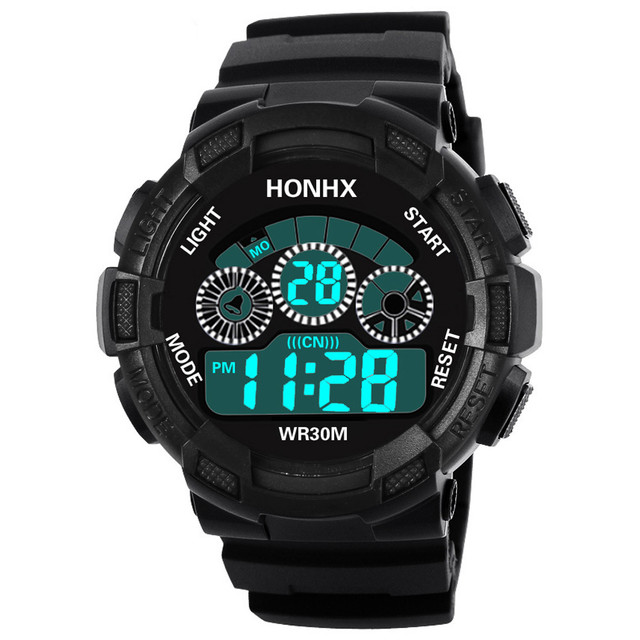 HONHX Brand Men LED Digital Military Watch Rubber Quartz Watch Alarm Waterproof Sports Watches Fashion Outdoor Wristwatches