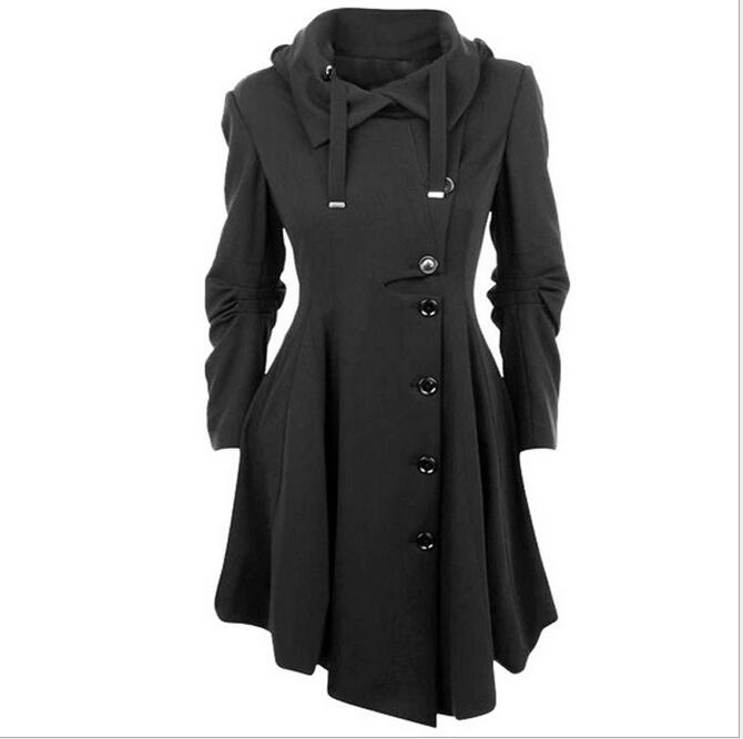 Fashion Long Medieval Trench Coat Women Winter Black Stand Collar Gothic Coat Elegant Women Coat Vintage Female S-4XL