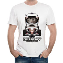 2020 NEW summ MOTO GP campeon shirt Meow print T-Shirt Men short sleeve funny cat T Shirt car lovers Tops white hipster cool Tee(China)