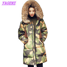 Фотография  Winter New Women Upscale Long Down Cotton Jacket 2018 Fashion Camouflage Cotton Outerwear Hooded Collar Need Warm Overcoat B159