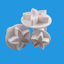 Baking 3PCS Five-Pointed Star Flower Leaf Plunger Cutter Fondant Decor Sugar Craft Mold Cookie Cutter DIY Cake Decorating Tools