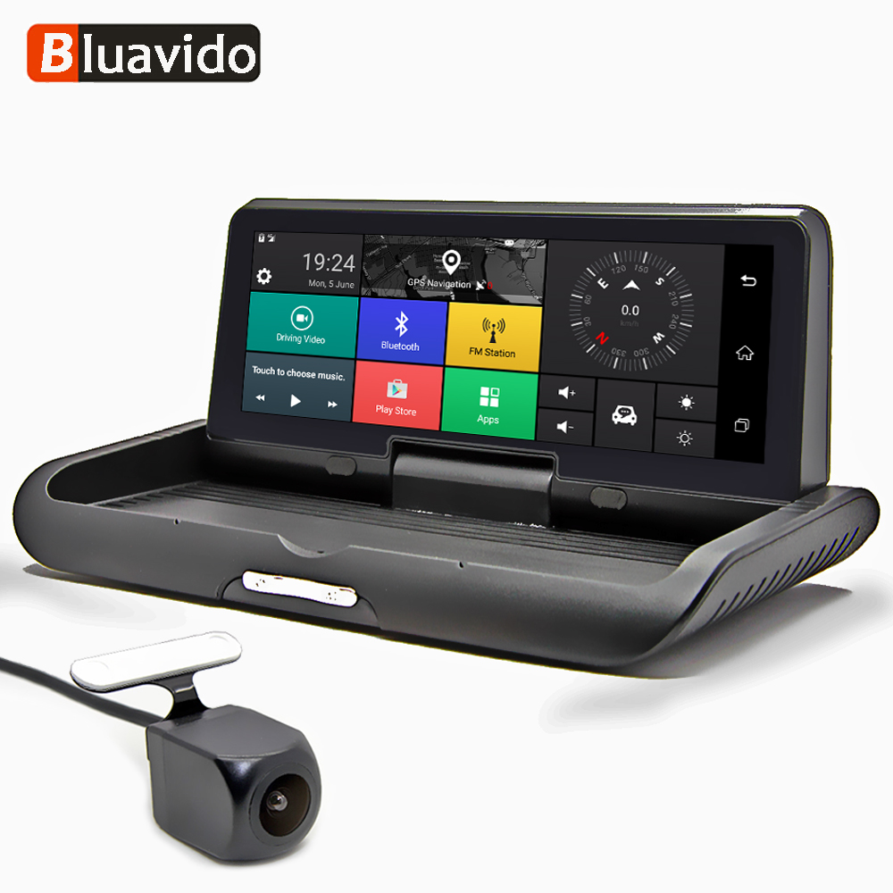 Bluavido 8 polegada 4G Android DVR Full HD 1080P Câmera Do Carro Navegador GPS ADAS de visão Noturna Lente Dupla auto Gravador De Vídeo Traço Cam