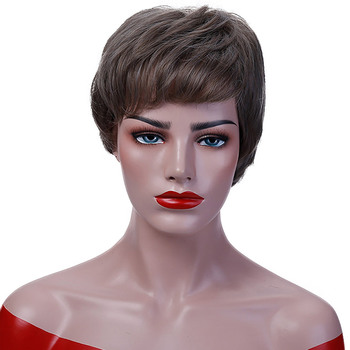 JINKAILI الباروكة قصيرة عابث قطع الباروكات للنساء الحرارة مقاومة الاصطناعية أسود رمادي خصلات الشعر المستعار الباروكة حلي
