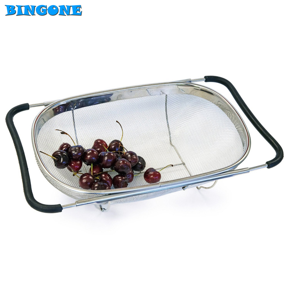 Pull Retractable Drain Basket Rack Stainless Steel Sink Dish Rack Vegetables Basket Kitchen Sink Accessories -TF