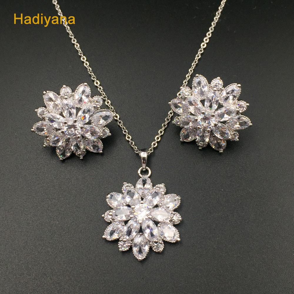 Jewelry Sets Flower Pendant Set With Snowflake Shape