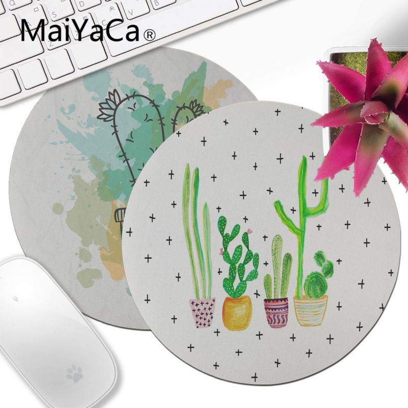MaiYaCa Cactus Watercolor Comfort Round Mouse Mat Game Mousepad Keyboards Mat Gamer Gaming Mouse Pad Desk Mat Anime Mouse Pad
