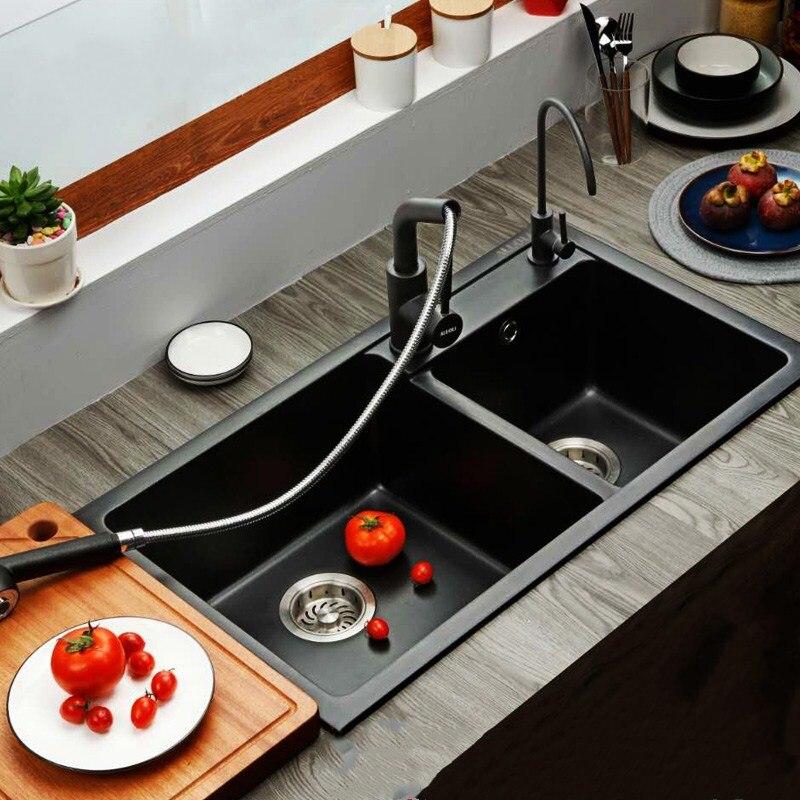 Gootsteen Graniet Zwembad, Aanrecht, Duitse Dikke Kwarts Stenen Gootsteen Dubbele Kom, Zwart Multifunctionele Wassen Wastafel, 20 cm Dikker Sink - 2