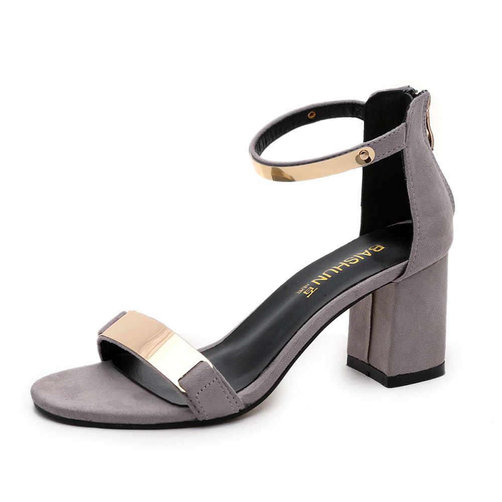 Jaycosin ayakkabı kadın akın sandalet ilkbahar yaz sandalet açık ağızlı kalın topuk gladyatör temel ayakkabı