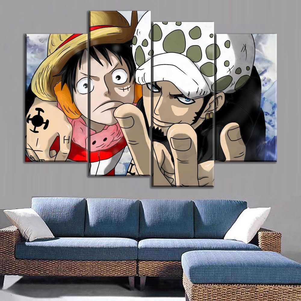 Modern Canvas Print Type Style Luffy And Trafalgar Law Poster Wall Art 4 Pcs Home Decor Living Room One Piece Animation Picture