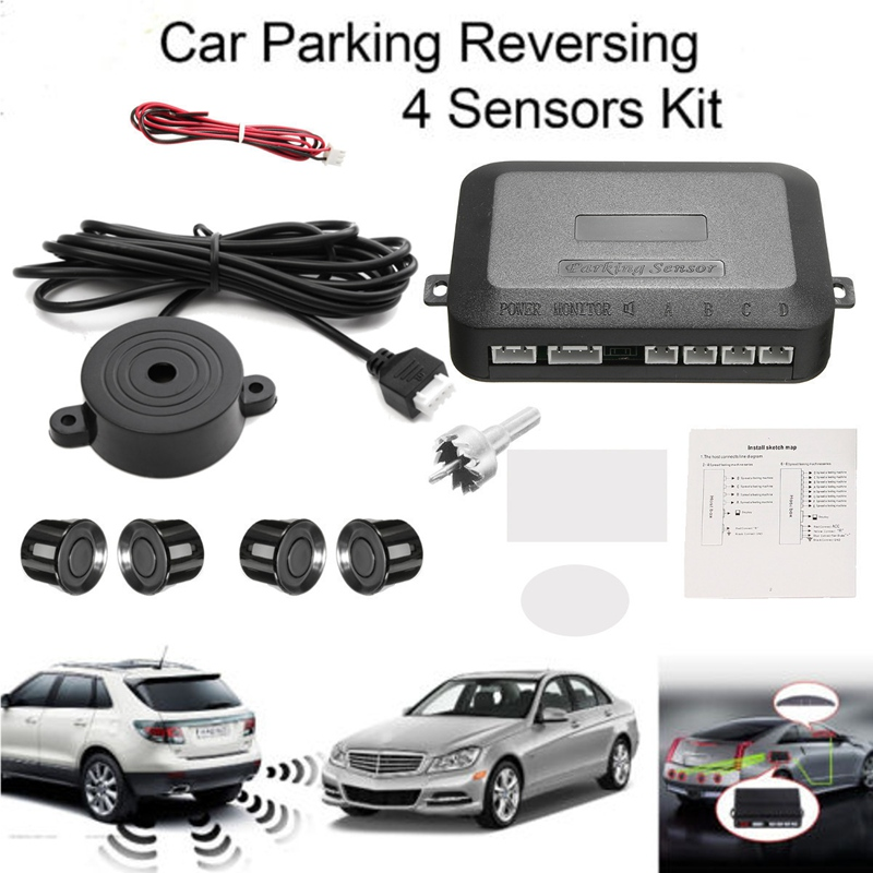 Luz De Oro Color Reversa Trasero parking 4 Sensor ayuda Kit Con Audio Zumbador Alarma