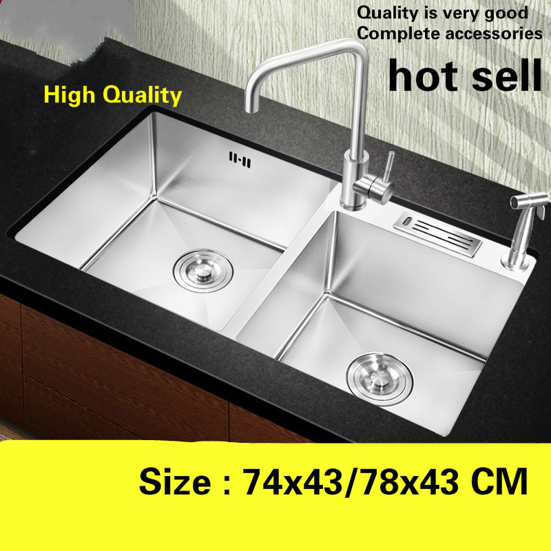 Free shipping Apartment high quality kitchen manual sink double groove standard 304 stainless steel hot sell 74x43/78x43 CM Free shipping Apartment high quality kitchen manual sink double groove standard 304 stainless steel hot sell 74x43/78x43 CM